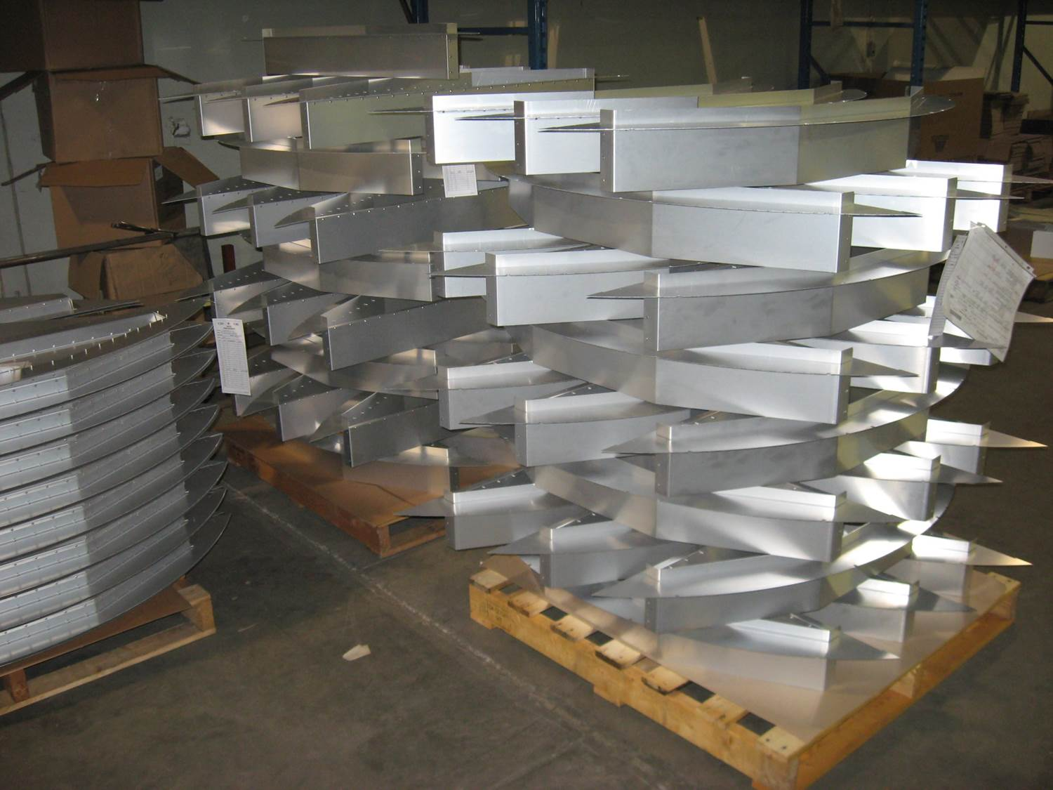 Riveted Aluminum Sub-assemblies stacked