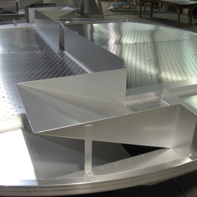 Riveted aluminum tray close up